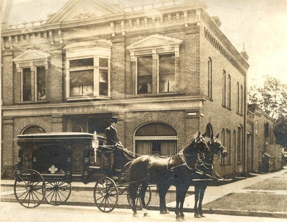 Horse Drawn Hearse in Front of Our Original Office
